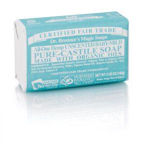 Dr Bronner Pure Castile Soap Bar – Baby Mild Unscented 140g