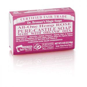 Dr Bronner's Pure Castile Soap Bar – Rose  140g