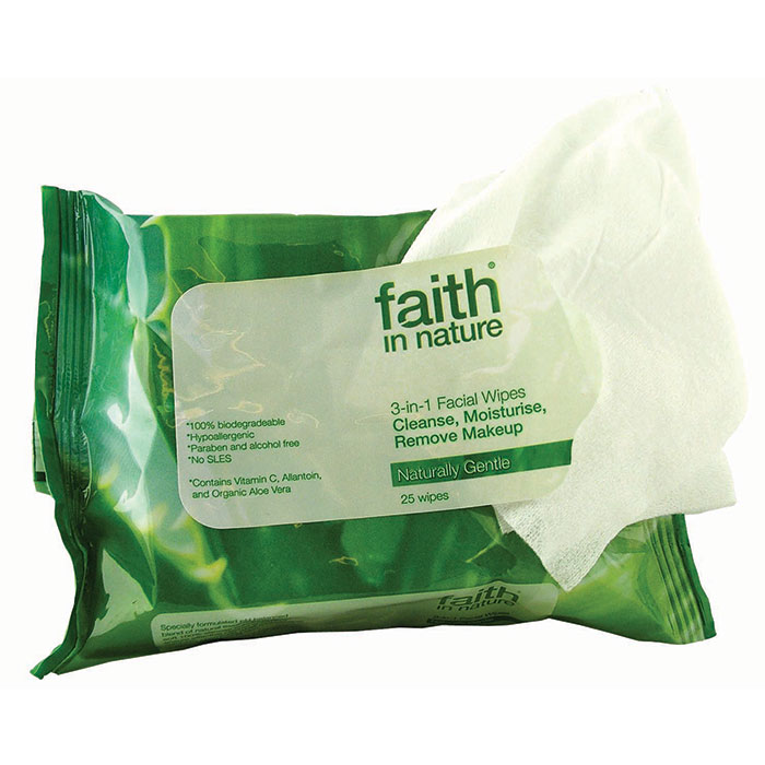 Faith in Nature 3 in 1 Facial Wipes  x25 wipes