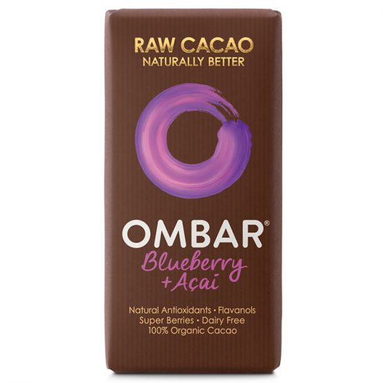 Ombar Organic Raw Chocolate Bar- Blueberry & Acai 35g